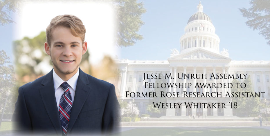 Wes Whitaker named Jesse Unruh Fellow